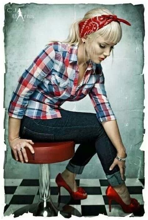 Pin up style. Cute button shirt jeans and heels  most already have these in their closets ...