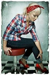 Pin up style. Cute button shirt jeans and heels , most ...