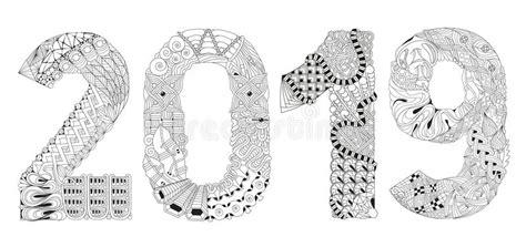 Number 2019 Zentangle. Vector Decorative Object Stock