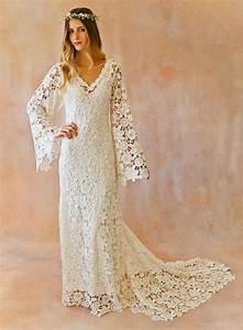 boho wedding dress bell sleeve simple crochet lace With vintage hippie wedding dresses