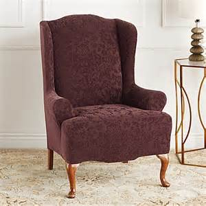 sure fit 174 stretch jacquard damask wingback chair slipcover bed bath beyond