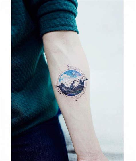 landscape compass on the left inner forearm