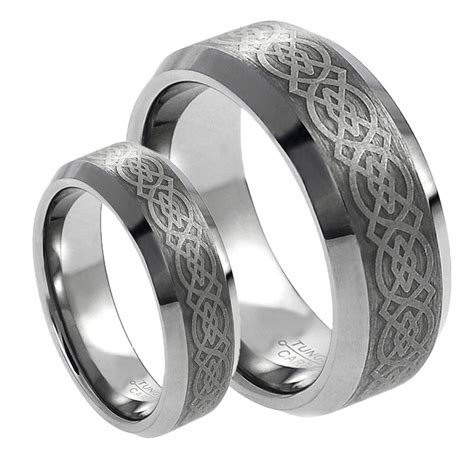 his s 8mm 6mm tungsten carbide celtic knot design wedding band ring ebay