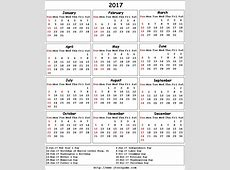 2017 Calendar printable Calendar 2017 Calendar in