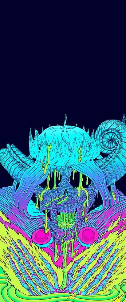 Neon Vertical Ultrawide Skull Imgur Widescreenwallpaper