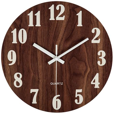 12 inch light function wooden wall clock vintage