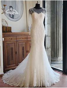 memraid illusion neckline long sleeve lace beaded wedding With long sleeve beaded wedding dress