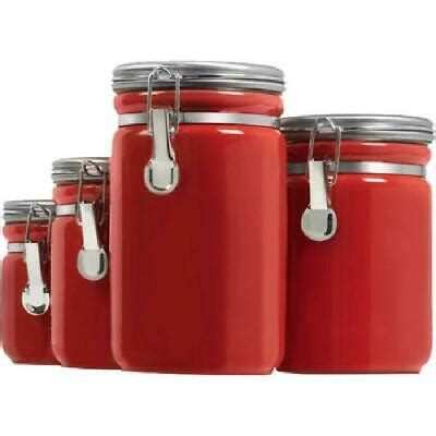 Store items and add a decorative touch with these kitchen canisters. Red 4-Piece Round Ceramic Canister Set+Stainless Steel Clamp Lids Home Kitchen 313027275239 | eBay
