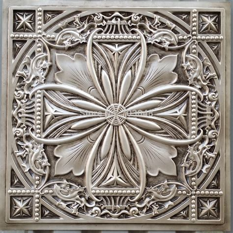 pl faux tin plastic ceiling tiles antique white color