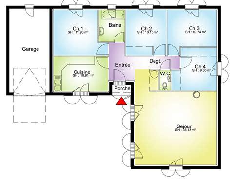 plan maison 100m2 plein pied 3 chambres plan grande maison avec 4 chambres plans maisons