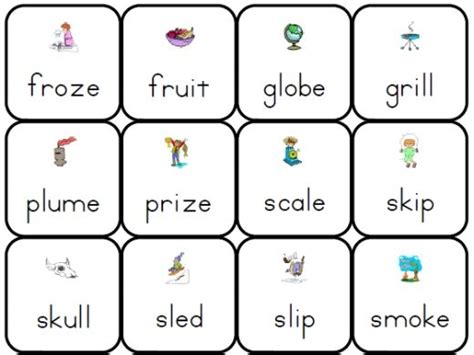 Phonics Lotto Consonant Blends Sc Sk Gr Gl Bl Cl Cr Sm Sp