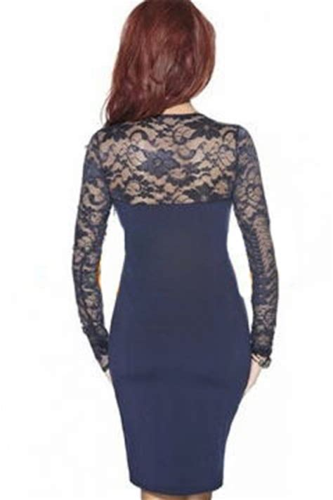 navy blue sexy ladies sheer lace long sleeve bodycon dress
