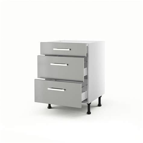 solde hotte cuisine meuble de cuisine bas gris 3 tiroirs délice h 70 x l 60 x