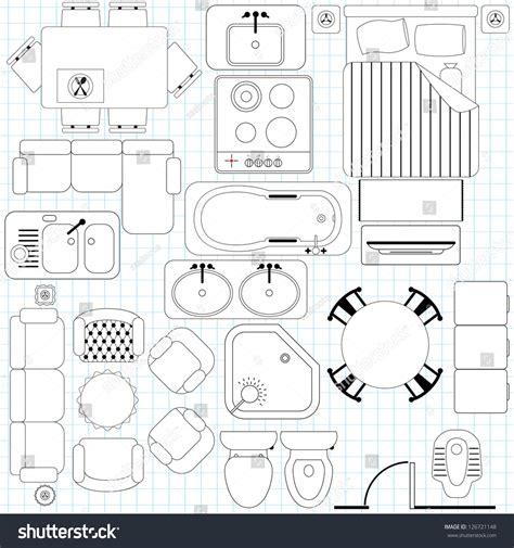 outline vector simple furniture plan floor stock vector