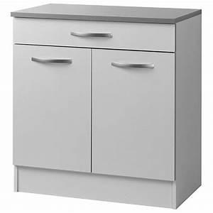 Meuble Bas 2 Portes : meuble bas 2 portes 1 tiroir 80cm smarty blanc ~ Dallasstarsshop.com Idées de Décoration