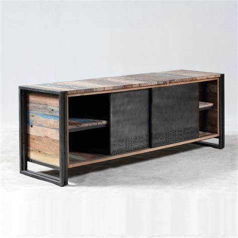 bureau d angle en bois meuble tv industrielle 2 portes coulissantes métal brossé