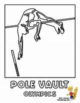 Coloring Vault Olympic Pole Sports Summer Yescoloring Athletics sketch template