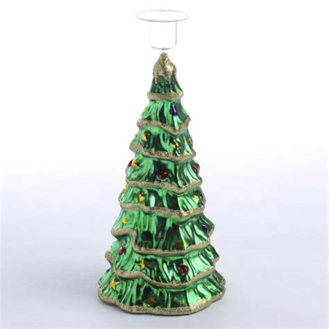 glass christmas tree candle holder candles and
