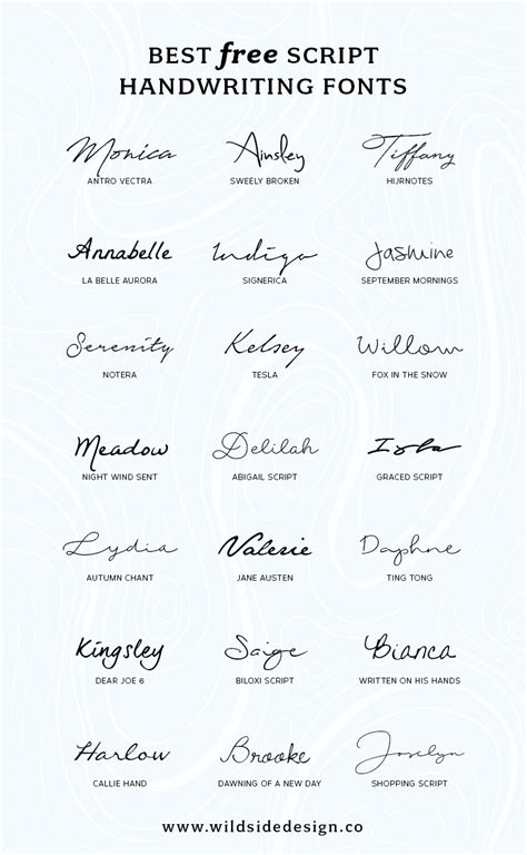 Best Free Script Handwriting Fonts  Wild Side Design Co