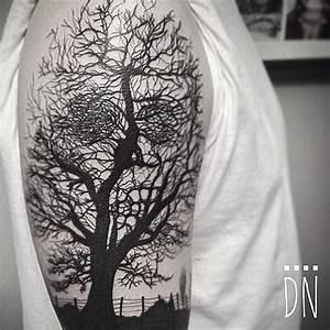 Tree Realistic Blackwork tattoo by Dinonemec   Tattoo ...