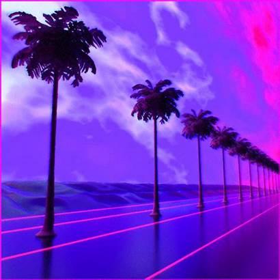 Vaporwave Aesthetic Trees Purple Sunset Anime Palm
