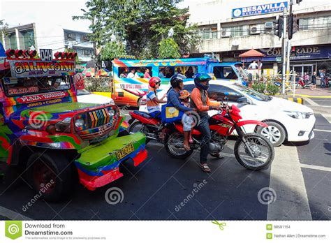 Motorcycles And Jeepney Traffic In Cebu City Editorial