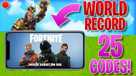 fortnite mobile code giveaway world record stream