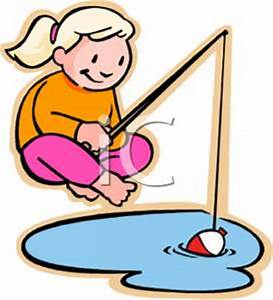 """Clipart image of girl fishing 