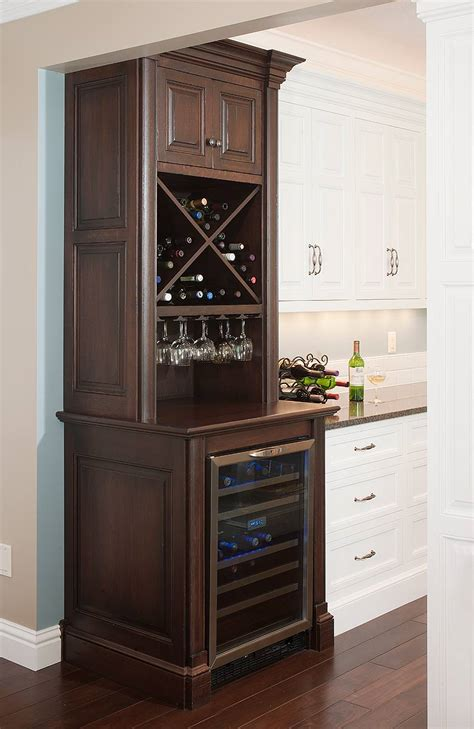 bar cabinet with wine fridge what type of cabinet surface will a wine cooler fit in