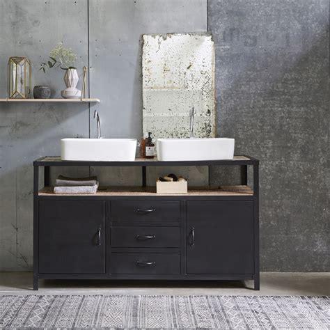 chaise de bureau style industriel meuble sous vasque en mtal noir et manguier pour salle de