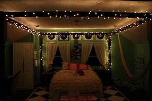 bedroom string lighting ideas and wall art with four With interior rope lighting ideas