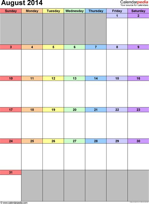 august  calendars  word excel