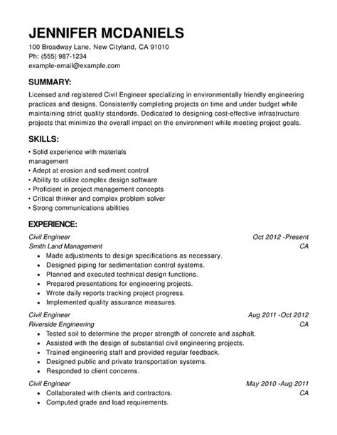 Chronological Resume About by Engineering Chronological Resume Sles Exles Format