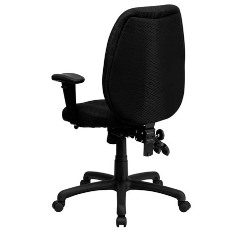 high back black fabric multi functional ergonomic