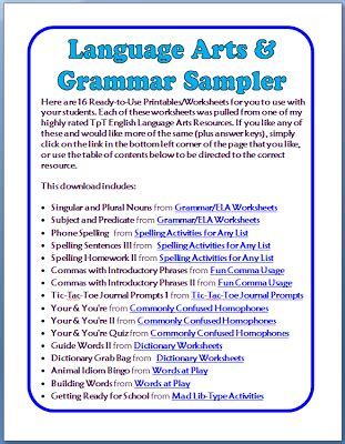 free grammar language arts worksheets printable pages minds in bloom