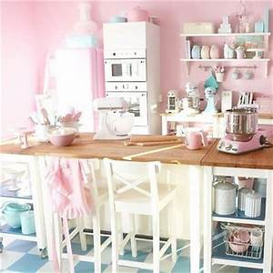 retro pink and blue kitchen room decor and design With kitchen colors with white cabinets with hot pink candle holders