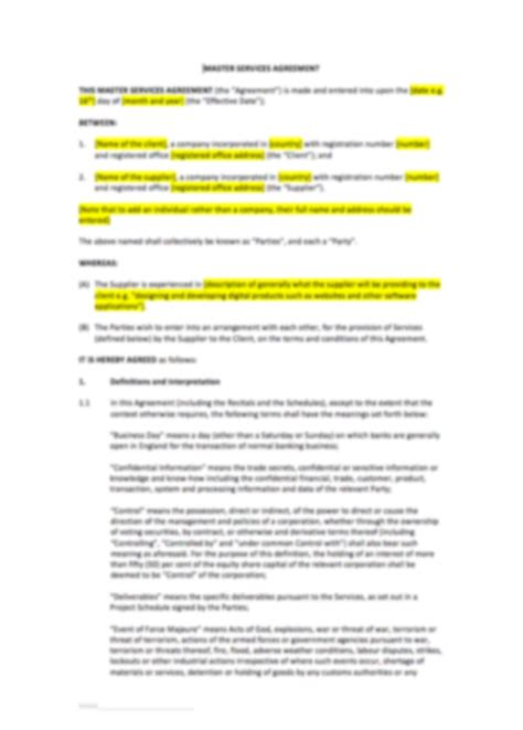 master services agreement template uk template
