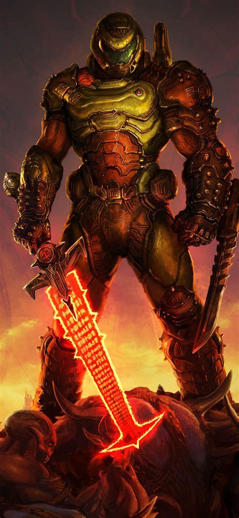 doom eternal  wallpaper doomguy doom slayer pc games