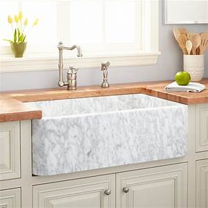 33quot Polished Marble Farmhouse Sink Carrara Kitchen