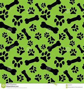 Seamless Pattern With Black Dog Paw Prints And Bones On A ...