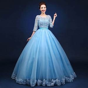 light blue full embroidery flower ball gown medieval dress ...