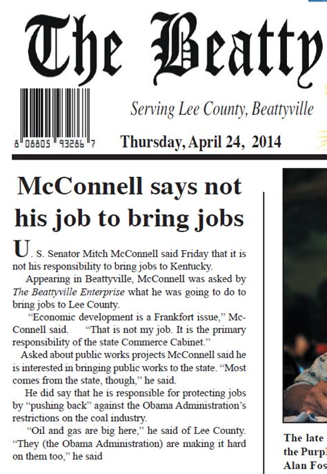 kentucky cabinet for economic development salary the rural weekly newspaper catches sen mcconnell in
