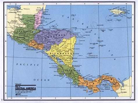 detailed political map  central america central