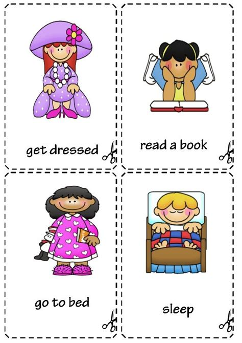 daily routine flashcards anglictina skola skolka