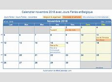 Belgique Calendrier pour l'impression novembre 2018