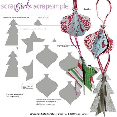 Christmas Template Craft by Scrapsimple Craft Templates Ornaments