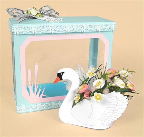 A4 Card Making Templates  Beautiful 3d Swan & Display Box