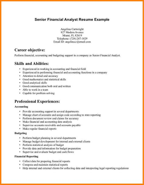 resume financial analyst resume sle business