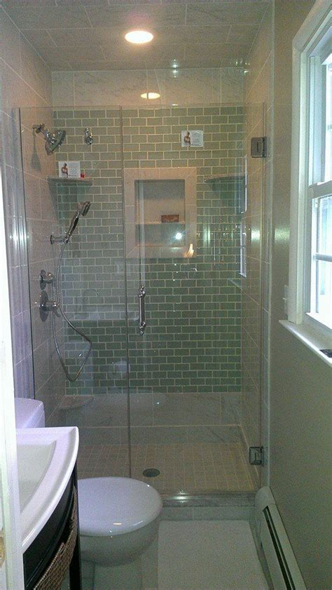 shower with glass tile accent wall home ideas
