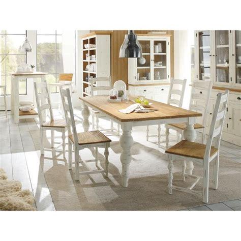 chaise blanc et bois table 200x100 et 6 chaises landhaus en bois mindi blanc et
